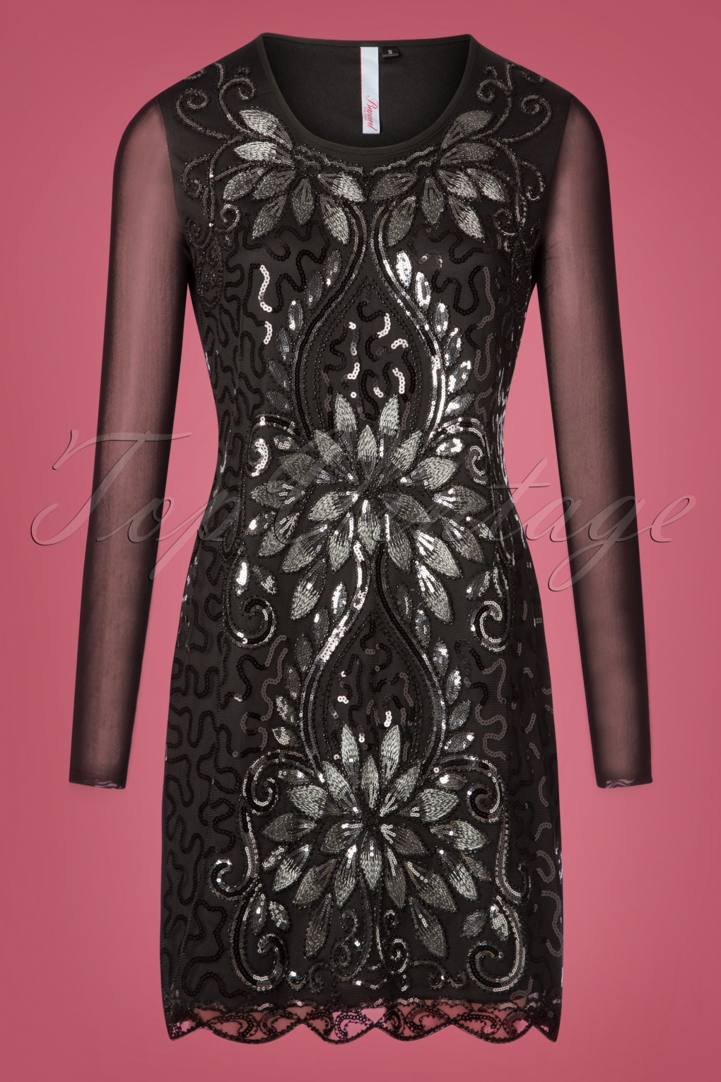 1920s Evening Dresses & Formal Gowns 20s Lillian Sequin Dress in Black £50.45 AT vintagedancer.com