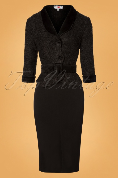 40s Charilyn Boucle Pencil Dress In Black
