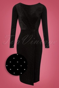 50s Babs Velvet Pencil Dress in Black and Silver