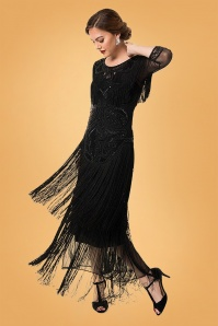 GatsbyLady 20s Glam Fringe Flapper Maxi Dress in Black