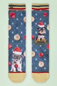 50s Puppy Carol Socks in Blue