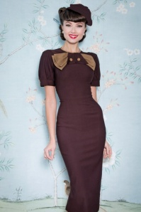 Penny Pencil Dress Années 40 en Brun Chocolat