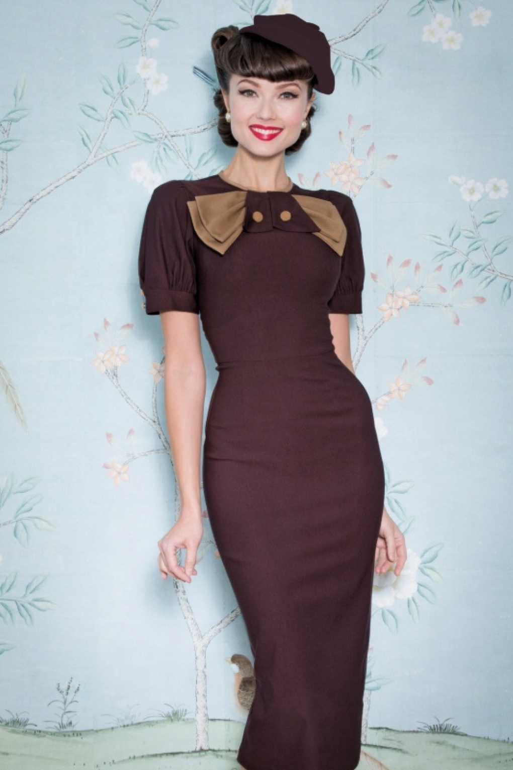 1930s Day Dresses, Afternoon Dresses History Penny Pencil Dress in Chocolate £185.81 AT vintagedancer.com