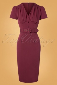 Bethany Pencil Dress Années 40 en Lie de Vin