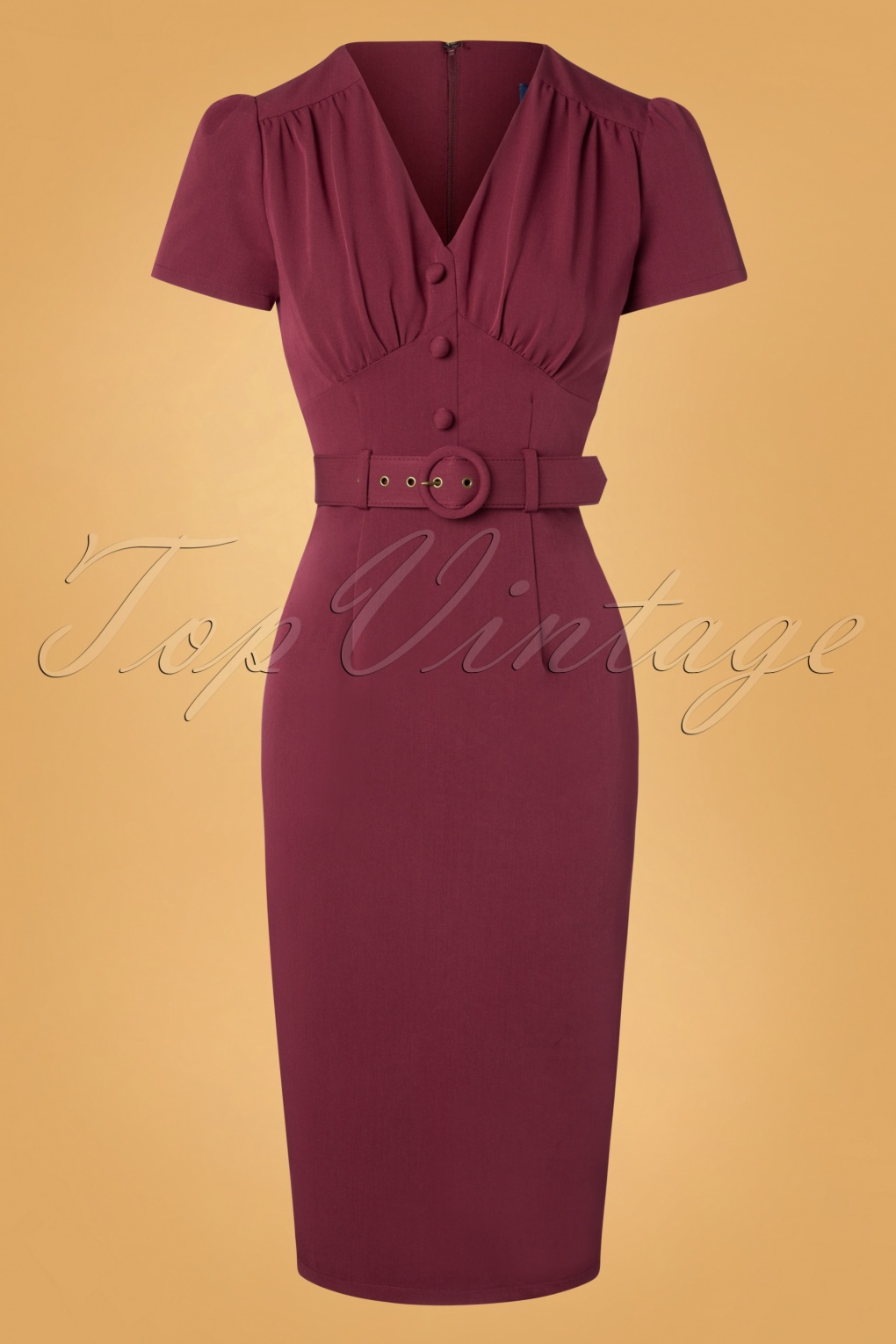 1950s Dresses, 50s Dresses | 1950s Style Dresses 40s Bethany Pencil Dress in Wine £63.99 AT vintagedancer.com