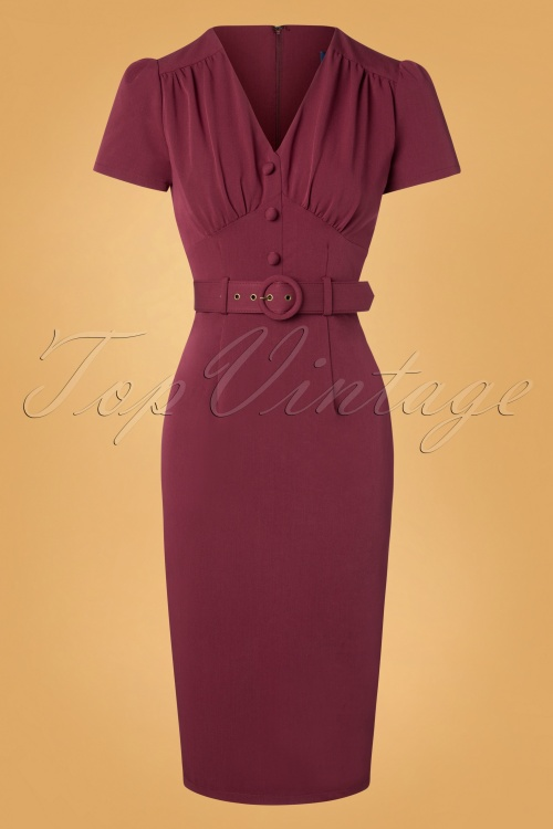 Collectif Wine Bethany Pencil Dress 100 20 27506 20181107 0555W