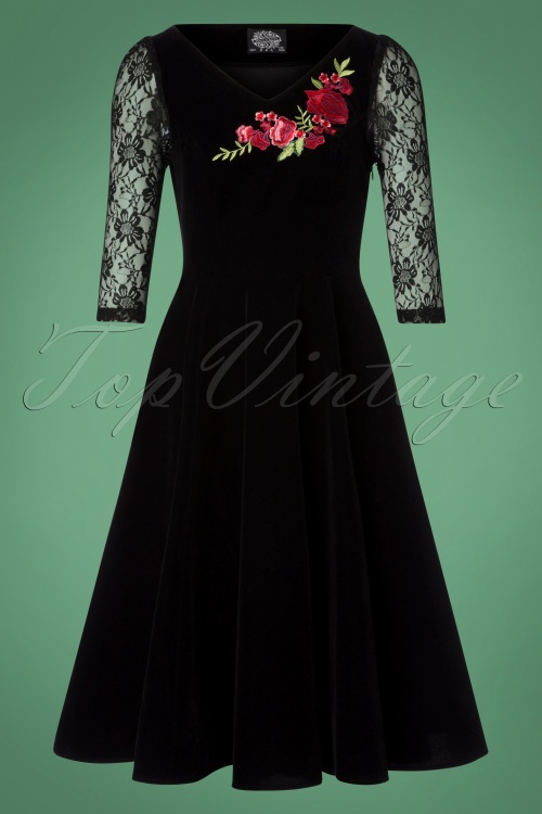 Hearts & Roses Black Velvet Red Roses Swing Dress 102 10 26948 20181107 0536W
