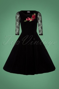 Hearts & Roses Black Velvet Red Roses Swing Dress 102 10 26948 20181107 0534W