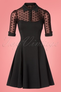 50s Wednesday Polkadot Skater Dress in Black