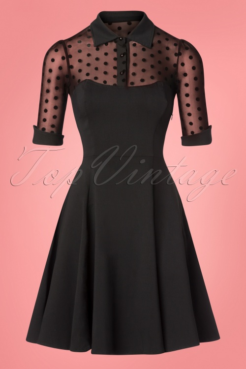 Collectif Clothing Wednesday Skater Dress Black Polkadot 102 10 24903 20181105 0463W