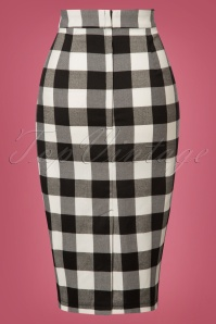 Collectif Clothing Black white Polly Gingham Pencil Skirt 120 14 24842 20180625 003W