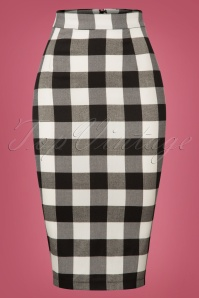 50s Polly Gingham Pencil Skirt in Black and White