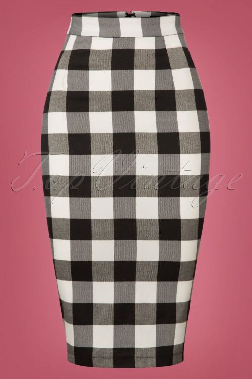 Collectif Clothing Black white Polly Gingham Pencil Skirt 120 14 24842 20180625 001W