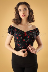 50s Dolores Cherries Blossom Top in Black