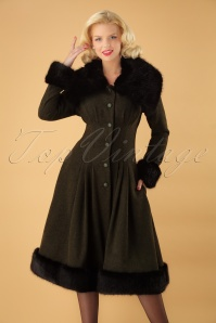Collectif Clothing 30s Pearl Coat in Olive Green Wool