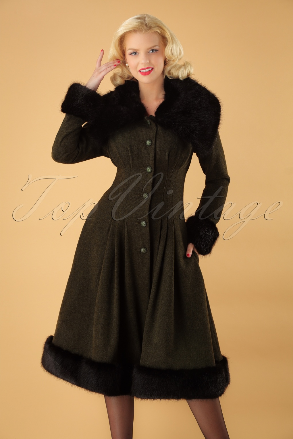 1930s Style Coats, Jackets | Art Deco Outerwear 30s Pearl Coat in Olive Green Wool £138.60 AT vintagedancer.com