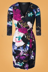 50s Nord Floral Wrap Dress in Black