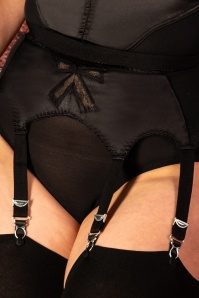 50s Retro Bow Suspender Belt in Black
