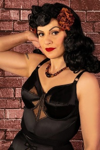 50s Retro Bow Longline Bra in Black