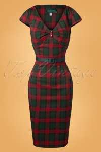 50s Irene Tartan Pencil Dress in Red and Green