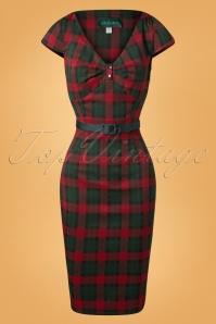 Irene Tartan Pencil Dress Années 50 en Rouge et Vert