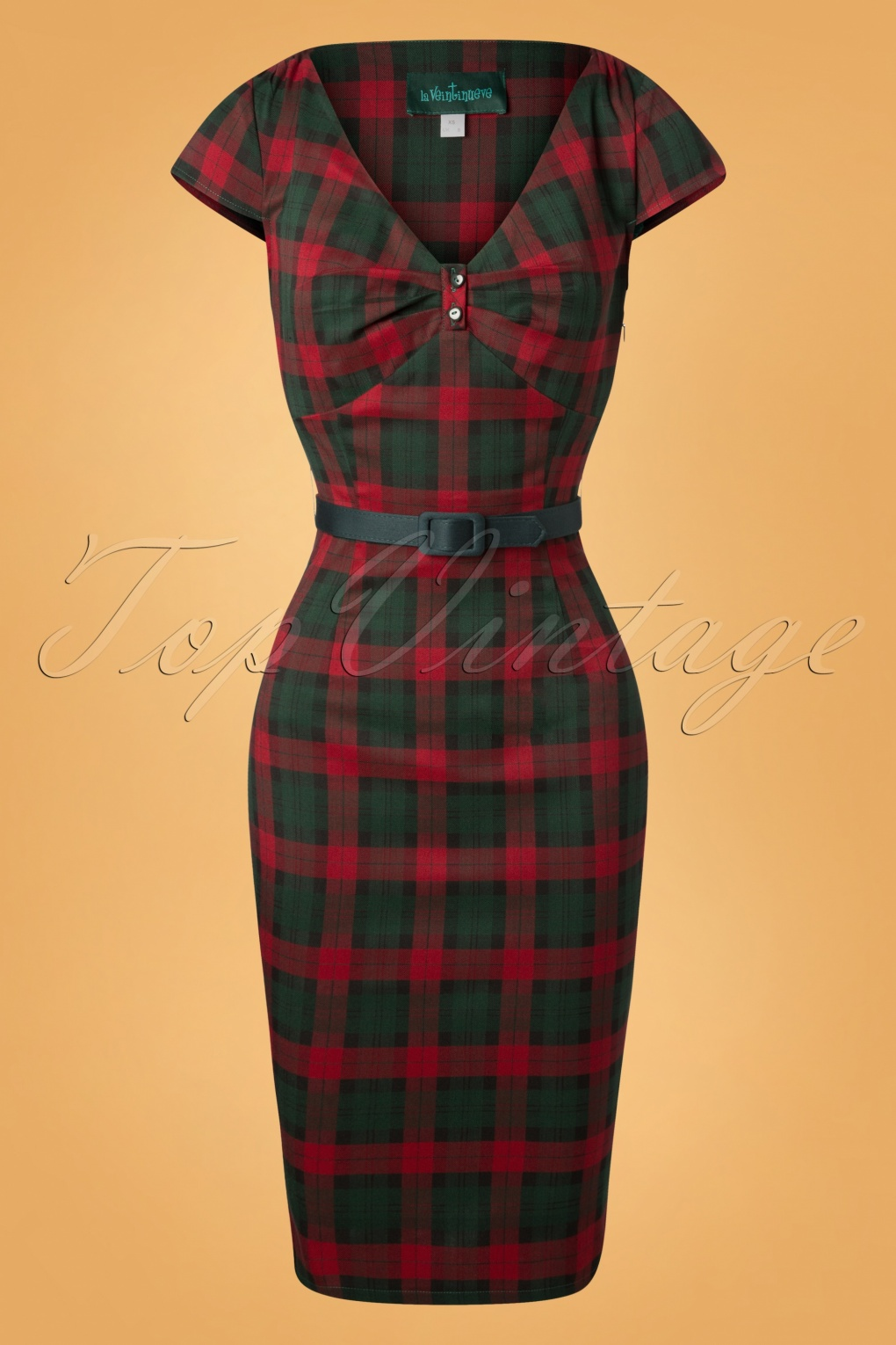 What Did Women Wear in the 1950s? 1950s Fashion Guide 50s Irene Tartan Pencil Dress in Red and Green £72.21 AT vintagedancer.com