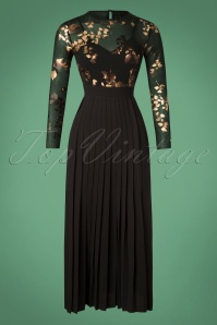 70s Fifi Floral Maxi Dress in Black and Gold