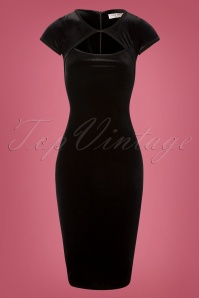 50s Donna Velvet Pencil Dress in Black