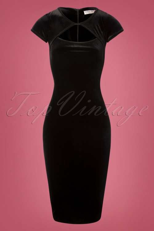 Vintage Chic Black Velvet Dress 100 10 28034 20181108 002W