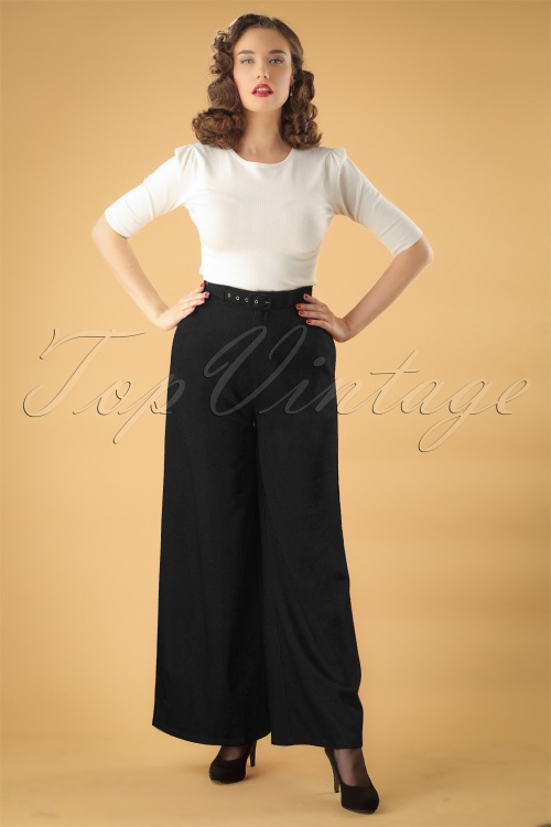 Collectif Clothing Vicky Crepe Trousers in Black 27504 20180628 0006W