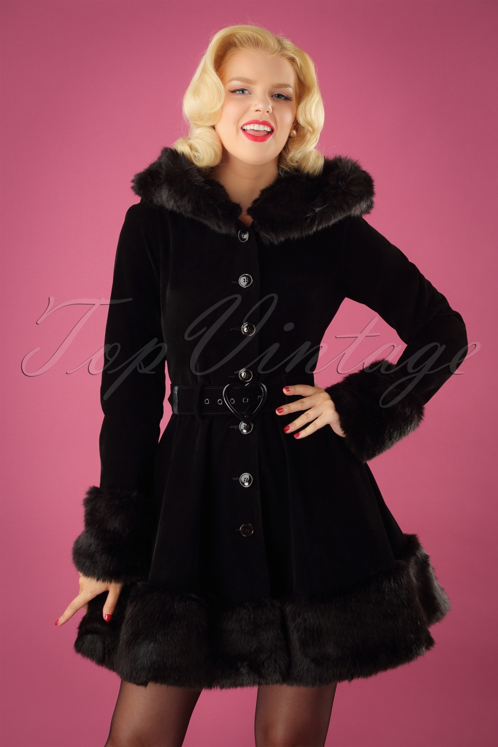 1950s Jackets, Coats, Bolero | Swing, Pin Up, Rockabilly 50s Laila Velvet Hooded Coat in Black £102.59 AT vintagedancer.com