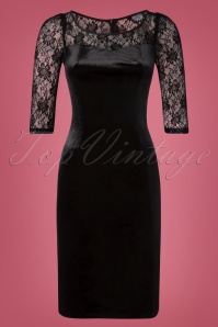 50s Barbara Velvet Lace Pencil Dress in Black