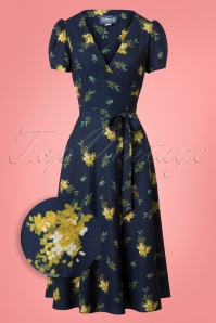 Colletif Clothing Blue Wilhelmina Buttercup Floral Wrap dress 106 39 24832 20180702 005Z