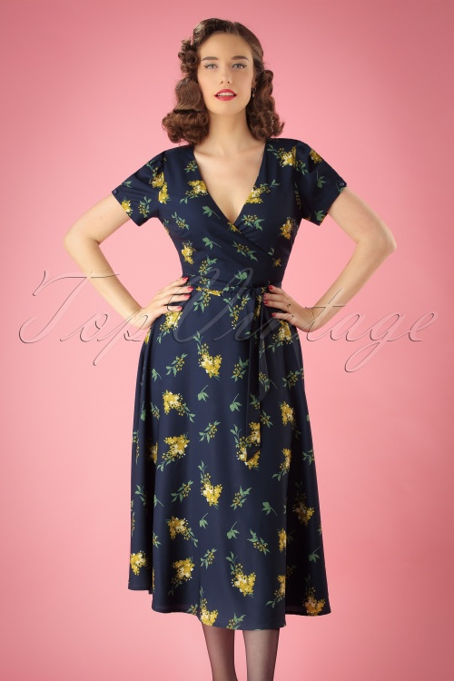 Colletif Clothing Blue Wilhelmina Buttercup Floral Wrap dress 106 39 24832 20180702 001W