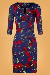 50s Nancy Floral Pencil Dress in Blue and Red