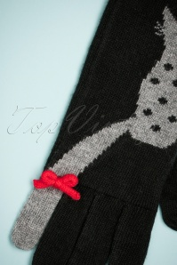 Alice Hannah Love Cats Jaquard Gloves in Black 250 14 26800 11082018 005W