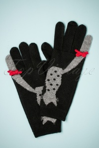 Alice Hannah Love Cats Jaquard Gloves in Black 250 14 26800 11082018 002W