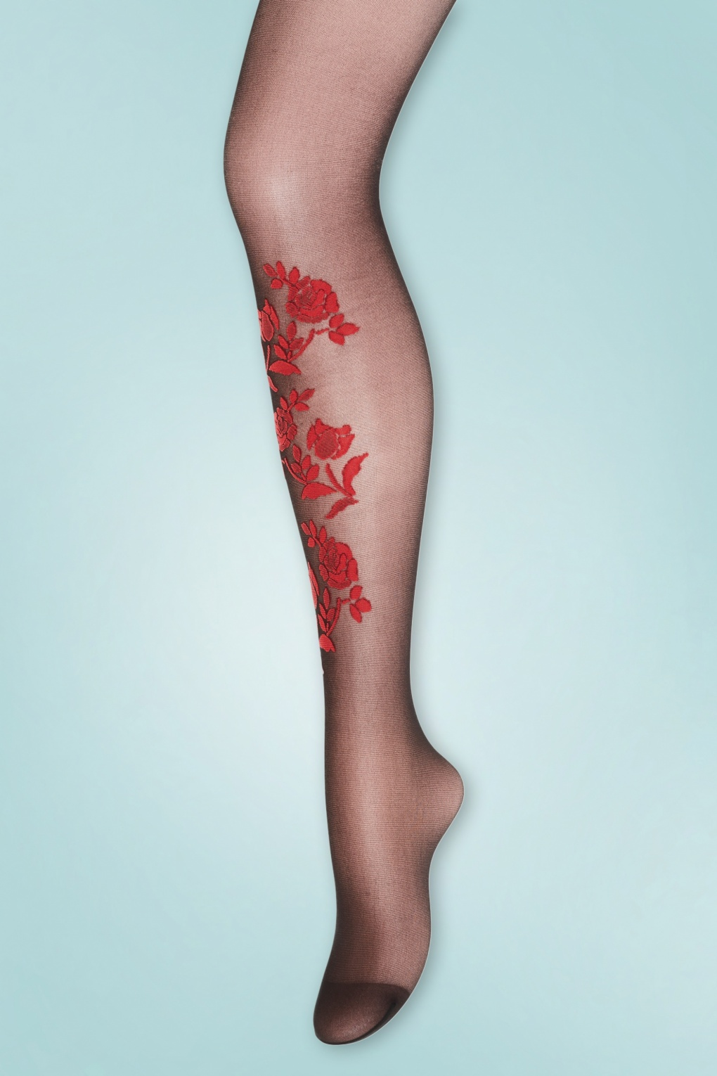 1950s Stockings and Nylons History & Shopping Guide 50s Mette Red Roses Tights in Black £21.83 AT vintagedancer.com