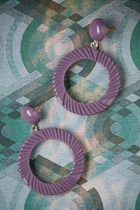 TopVintage Exclusive ~ 50s Hoop Earrings in Dark Purple