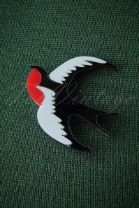 TopVintage Exclusive ~ 60s Swallow Brooch in Black