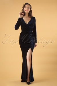 Colletif Clothing Navy Lexie Velvet Dress 108 31 24802 20180628 01W