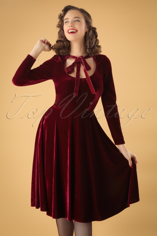 Collectif Clothing Clara Velvet Red Swing Dress 24820 20180627 001W