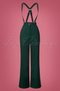 Collectif Clothing Glinda Plain Trousers in Green 25637 20180628 0002W