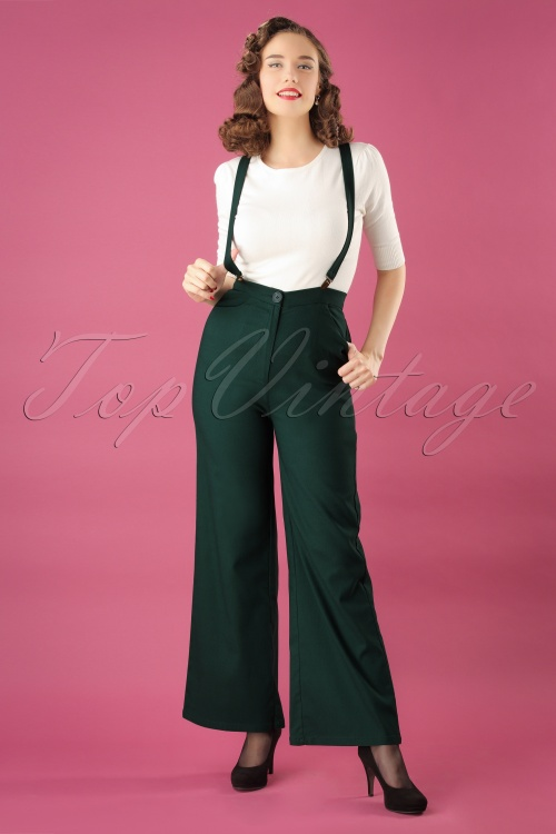 Collectif Clothing Glinda Plain Trousers in Green 25637 20180628 01W