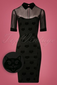 Collectif Clothing Wednesday Velvet Cat Pencil Dress 24887 20180628 0003W1