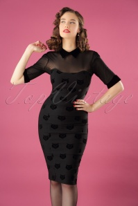 Collectif Clothing Wednesday Velvet Cat Pencil Dress 24887 20180628 01W