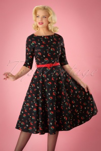 50s Suzanne Cherries and Blossom Swing Dress in Black