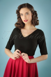 Collectif Clothing 50s Sonia Top in Black 110 10 24859 20180629 1W