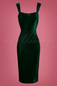Collectif Clothing Andromeda Velvet Green Pencil Dress 25641 20180628 0002 1W