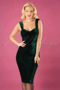 Collectif Clothing Andromeda Velvet Green Pencil Dress 25641 20180628 000W